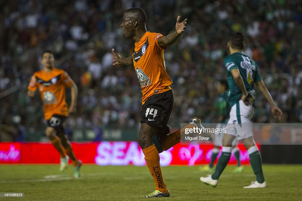 Enner Valencia of Pachuca celebrates after scoring the second goal of his team during the Championship first leg match between Leon and Pachuca as...
