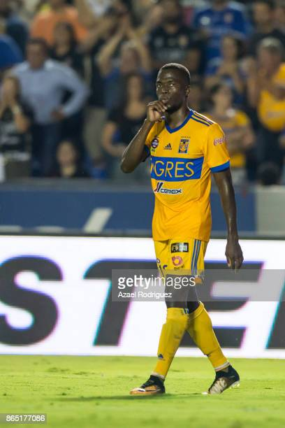 Enner Valencia of Tigres celebrates after scoring his team's second goal during the 14th round match between Tigres UANL and Toluca as part of the...