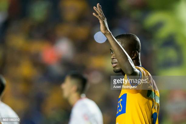 Enner Valencia of Tigres celebrates after scoring his team's third goal during the 14th round match between Tigres UANL and Toluca as part of the...