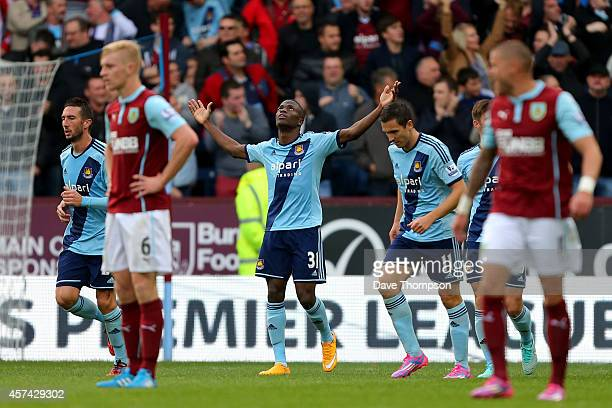Enner Valencia of West Ham celebrates after scoring his team's second goal during the Barclays Premier League match between Burnley and West Ham...