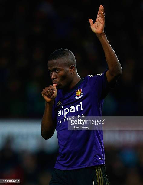 Enner Valencia of West Ham United celebrates as he scores their first goal during the FA Cup Third Round Replay match between West Ham United and...