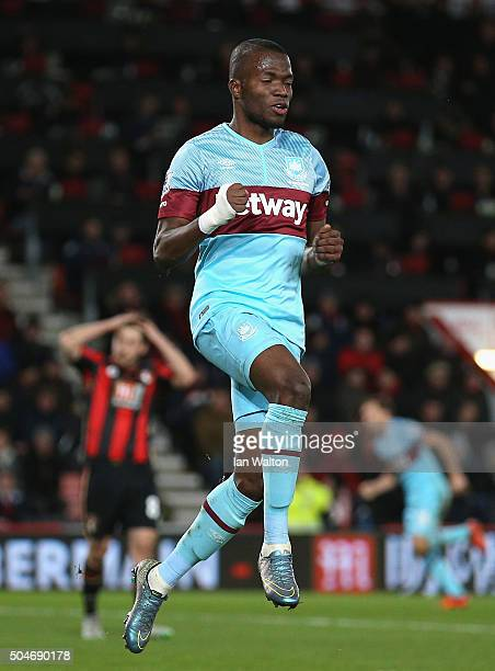 Enner Valencia of West Ham United celebrates as he scores their second goal during the Barclays Premier League match between AFC Bournemouth and West...