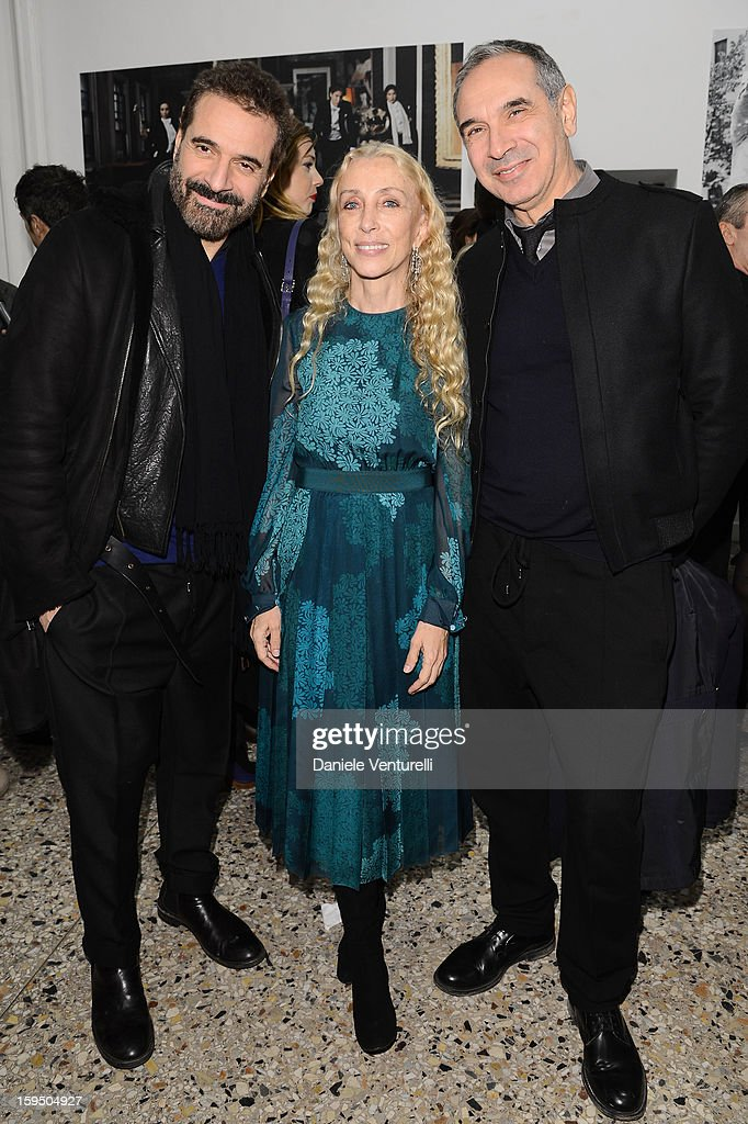 Ennio Capasa, Franca Sozzani and Carlo Capasa attend the 'So Chic So Stylish' cocktail party as part of Milan Fashion Week Menswear Autumn/Winter 2013 on January 14, 2013 in Milan, Italy.