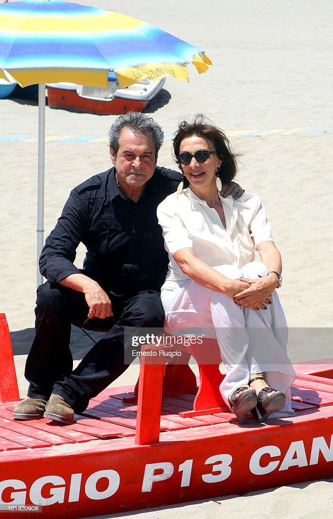 Ennio Fantastichini and Anna Bonaiuto attend the 'Tutti Al Mare' photocall at Castelporziano on June 9 2010 in Rome Italy