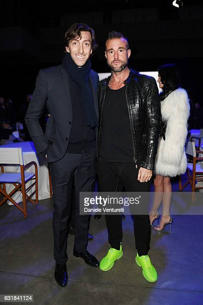 Ennio Fontana and Philipp Plein arrive at the Billionaire show during Milan Men's Fashion Week Fall/Winter 2017/18 on January 16 2017 in Milan Italy