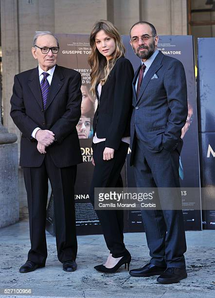 Ennio Moricone Sylvia Hoeks and Giuseppe Tornatore during the photocall of the film The Best Offer