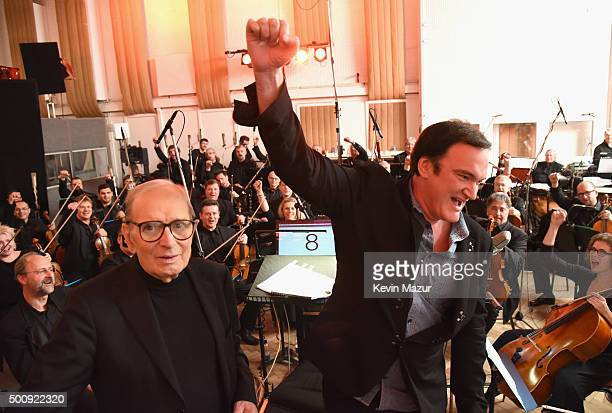 Ennio Morricone and Quentin Tarantino pictured inside Studio 2 at Abbey Road Studios afterthe Live to Lathe Limited Edition Recording of the H8ful...