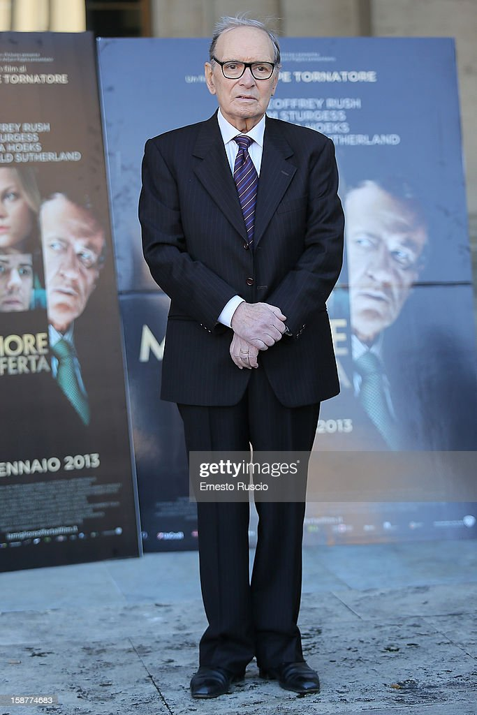 <a gi-track='captionPersonalityLinkClicked' href=/galleries/search?phrase=Ennio+Morricone&family=editorial&specificpeople=677347 ng-click='$event.stopPropagation()'>Ennio Morricone</a> attends the 'La Migliore Offerta' photocall at The Space Moderno on December 28, 2012 in Rome, Italy.