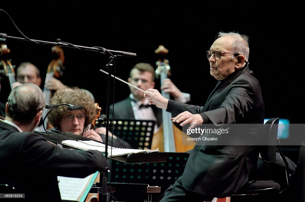 <a gi-track='captionPersonalityLinkClicked' href=/galleries/search?phrase=Ennio+Morricone&family=editorial&specificpeople=677347 ng-click='$event.stopPropagation()'>Ennio Morricone</a> performs on stage at The O2 Arena on February 5, 2015 in London, United Kingdom.