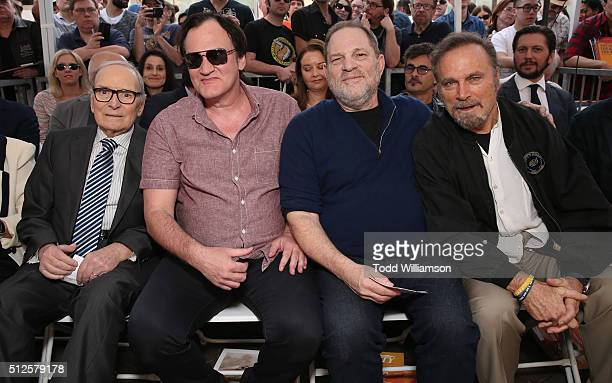 Ennio Morricone Quentin Tarantino Harvey Weinstein and Franco Nero attend The Hateful Eight's Ennio Morricone Star Ceremony On The Hollywood Walk Of...