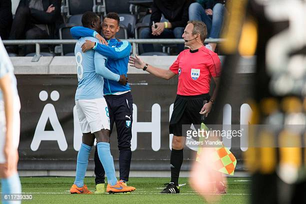 Enock Kofi Adu of Malmo FF and Tobias Sana of Malmo FF celabrates a goal during the Allsvenskan match between BK Hacken and Malmo FF at Bravida Arena...
