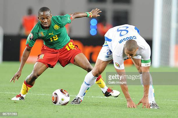 Enoh Eyong of Cameroon and Michel Cousin of Gabon in action during the Africa Cup of Nations match between Cameroon and Gabon from the Alto da Chela...
