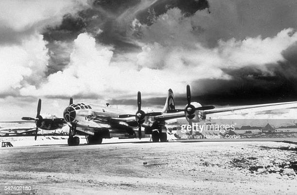 Enola Gay after the mission with a new tail identification
