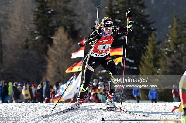 Enora Latuilliere of France competes during the IBU Biathlon World Cup Men's and Women's Relay on January 25 2015 in AntholzAnterselva Italy
