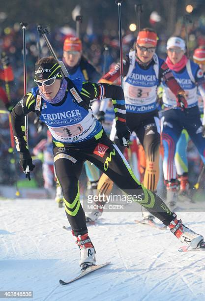 Enora Latuilliere of France competes in the Single Mixed Relay competition part of IBU World Cup Biathlon in Nove Mesto Czech Republic on February 6...