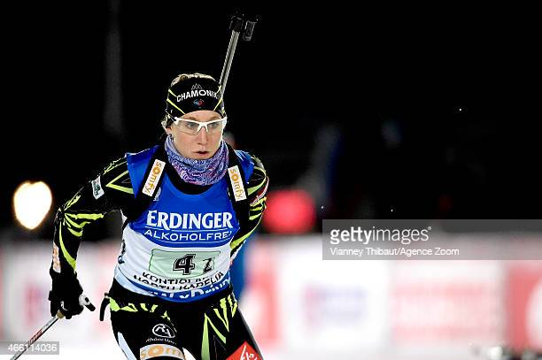 Enora Latuilliere of France takes 2nd place during the IBU Biathlon World Championships Women's Relay on March 13 2015 in Kontiolahti Finland