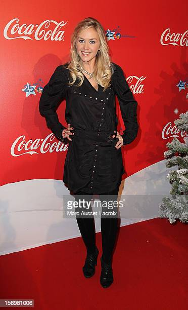Enora Malagre poses at the Coca Cola Christmas windows inauguration at Le Showcase on November 26 2012 in Paris France