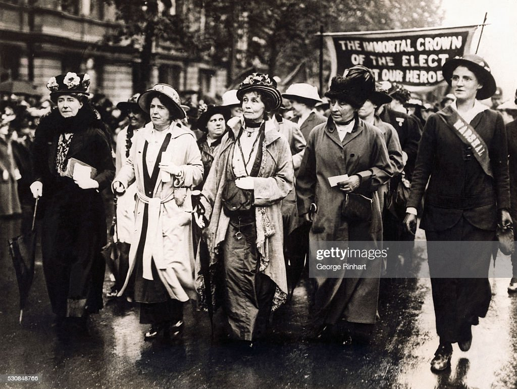 Enormous crowds of women thronged Victoria Embankment, despite a drizzling rain, to participate in the women's procession voicing the demand that the British Government use women in the work of making ammunition, replacing the men. It is estimated that 50,000 women were in the procession which was led by Mrs. <a gi-track='captionPersonalityLinkClicked' href=/galleries/search?phrase=Emmeline+Pankhurst&family=editorial&specificpeople=226667 ng-click='$event.stopPropagation()'>Emmeline Pankhurst</a> (3rd from left, front rank). With the paraders were also a number of titled women including Lady Colebrook, Lady Knollys and Mrs. Waldorf Astor.
