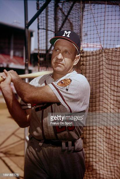 Enos Slaughter of the Milwaukee Braves poses for this photo before a Major League Baseball game circa 1959 Slaughter played for the Braves in 1959