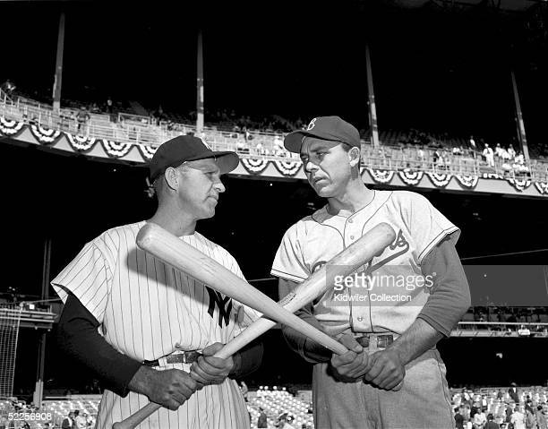 Enos Slaughter of the New York Yankees and Gil Hodges of the Brooklyn Dodgers pose for a portrait prior to World Series Game 2 on September 29 1955...