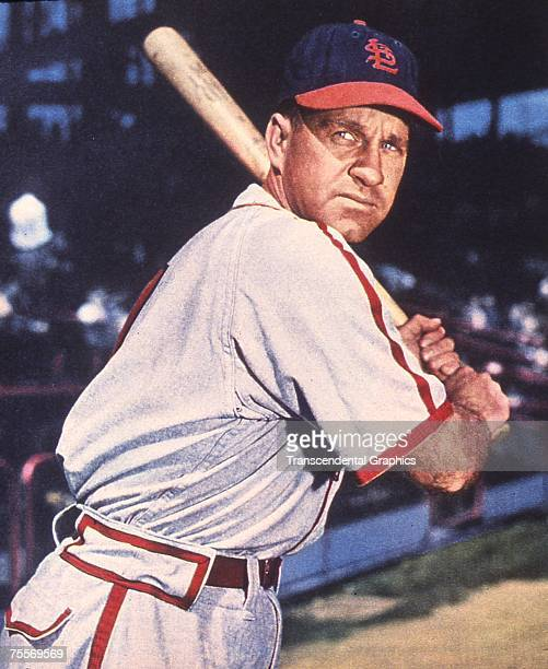 Enos Slaughter outfielder for the St Louis Cardinals poses for a color portrait in Sportsmans Park in 1946