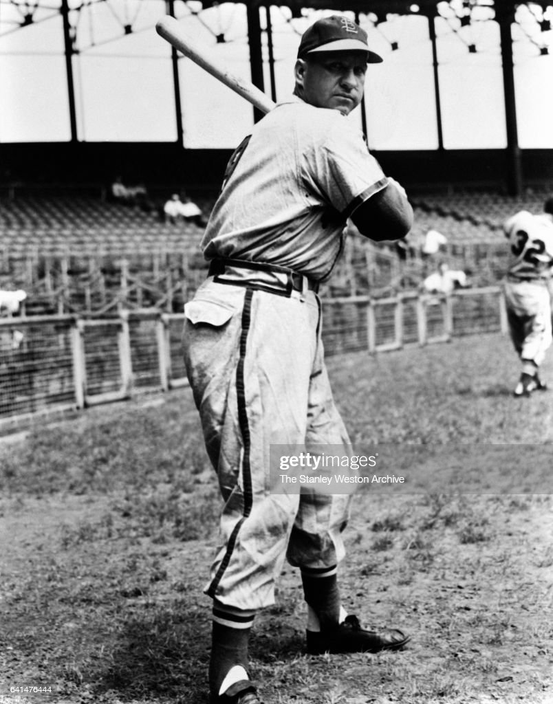 Enos Slaughter, outfielder of the St. Louis Cardinals poses for a portrait, circa 1938.
