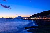 Enoshima and Mt.Fuji in the twilight