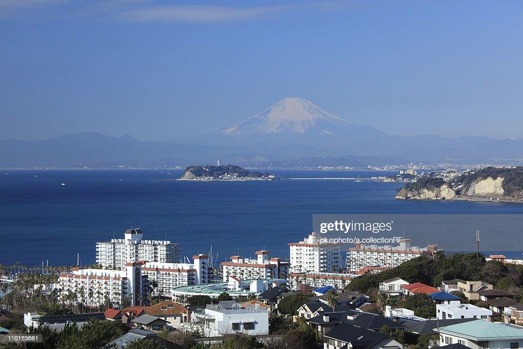 Enoshima Island and Mount Fuji : Stock Photo
