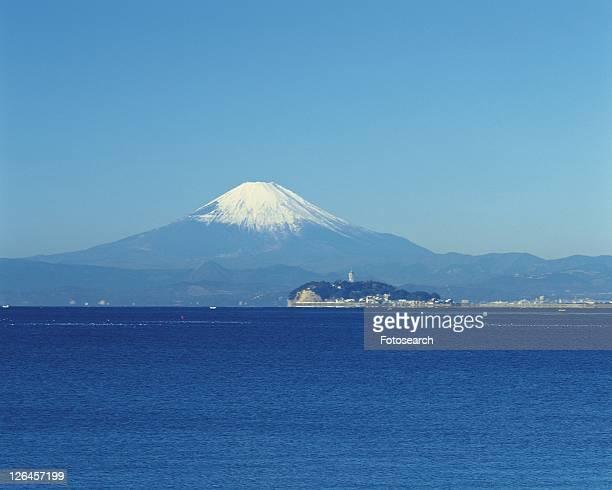 Enoshima Island and Mt. Fuji, Shonan, Kanagawa Prefecture, Japan, Front View, Pan Focus