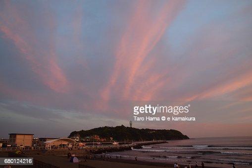 Enoshima Island in the sunset : ストックフォト