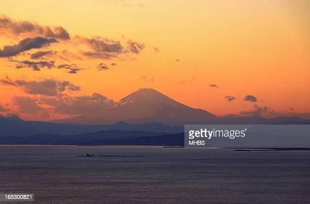 Enoshima sunset - view on mount Fuji