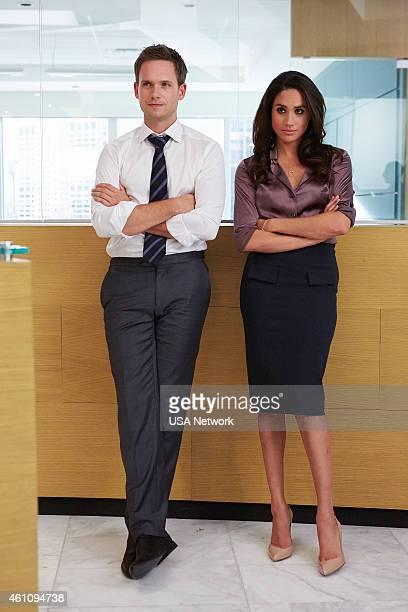 SUITS 'Enough Is Enough' Episode 411 Pictured Patrick J Adams as Michael Ross Meghan Markle as Rachel Zane