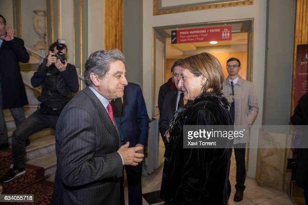 Enric Millo and Carme Forcadell attend the Gran Teatre del Liceu 20th Anniversary Celebration on February 6 2017 in Barcelona Spain