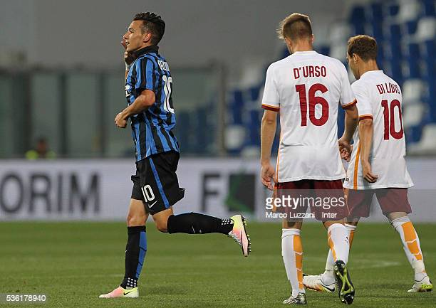 Enrico Baldini of FC Internazionale ccelebrates after scoring the opening goal during the juvenile playoff match between FC Internazionale and AS...