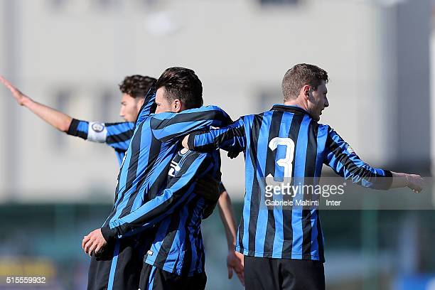 Enrico Baldini of FC Internazionale celebrates after scoring a goal during the Viareggio Juvenile Tournament match between FC Internazionale and...