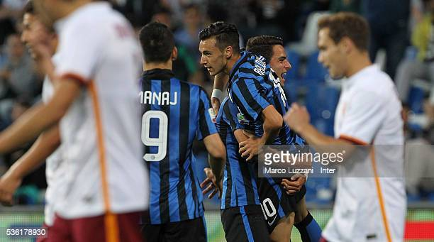 Enrico Baldini of FC Internazionale celebrates with his teammates after scoring the opening goal during the juvenile playoff match between FC...