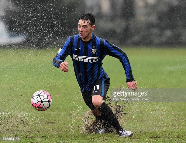 Enrico Baldini of FC Internazionale in action during the juvenile match between FC Internazionale and Bologna FC at Stadio Breda on March 5 2016 in...