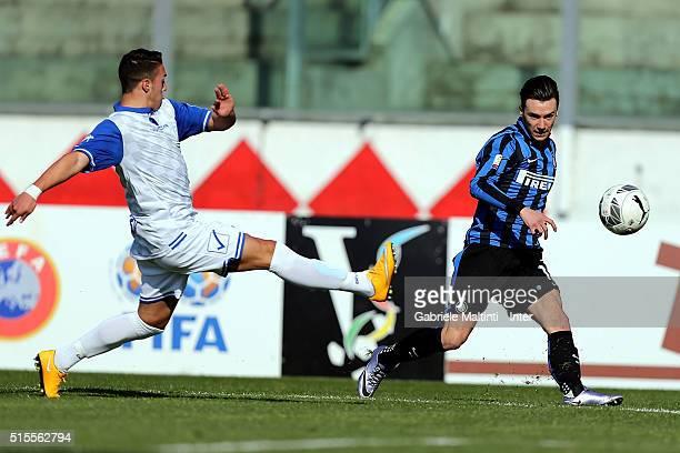 Enrico Baldini of FC Internazionale in action during the Viareggio Juvenile Tournament match between FC Internazionale and Akademija Pandev on March...