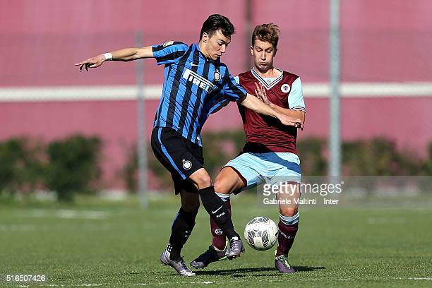 Enrico Baldini of FC Internazionale in action during the Viareggio Juvenile Tournament match between FC Internazionale and APIA Leichhardt on March...