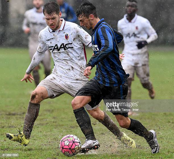 Enrico Baldini of FC Internazionale keeps the ball during the juvenile match between FC Internazionale and Bologna FC at Stadio Breda on March 5 2016...