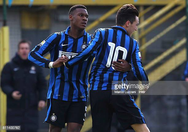 Enrico Baldini of FC Internazionale Milano celebrates his goal with his teammate Andrew Ryan Gravillon during the juvenile match between FC...