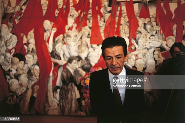 Enrico Berlinguer general secretary of the Italian Communist Party Behind him a work of the Sicilian painter Renato Guttuso 'I funerali di Togliatti'