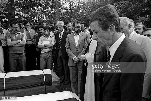 Enrico Berlinguer National Secretary of the Italian Communist Party the day of the funerals of Hussein Kamal and Nazyh Mattar Palestinian leaders...