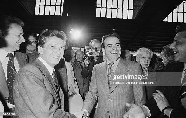 Enrico Berlinguer Secretary General of the Partito Comunista Italiano and his French counterpart Georges Marchais shake hands during a meeting in La...