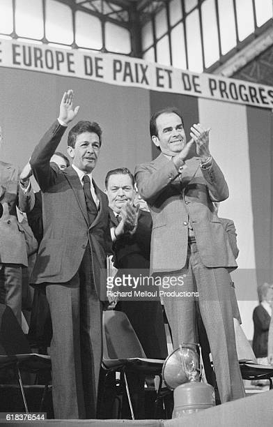 Enrico Berlinguer Secretary General of the Partito Comunista Italiano and his French counterpart Georges Marchais attend a meeting in La Villette...
