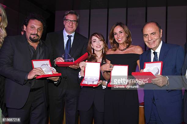 Enrico Brignano Max Tortora Chiara Francini Cristina Parodi and Bruno Vespa attend the Telethon Gala during the 11th Rome Film Fest on October 19...