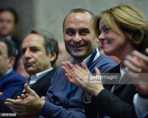 Enrico Costa and Beatrice Lorenzin during National Assembly of NCD In which is assumed the new name of Popular Alternative Rome on march 18 2017