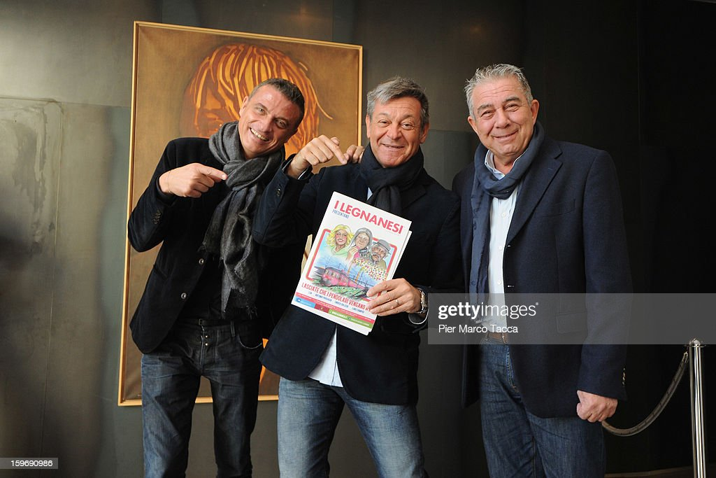 Enrico Dalceri, Antonio Provasio and Luigi Campisi of I Legnanesi pose before 'I Legnanesi' press conference on January 18, 2013 in Milan, Italy.