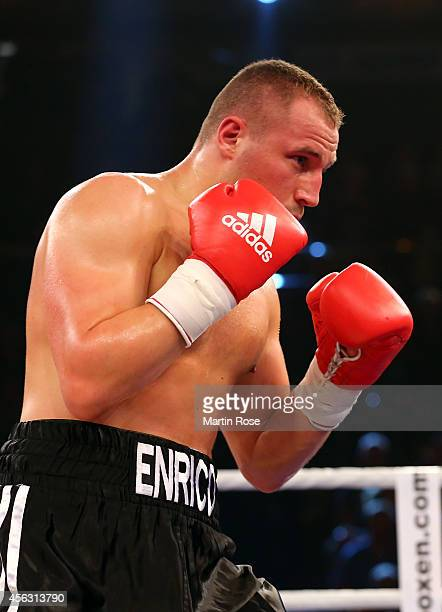 Enrico Koelling of Germany in action during the light heavyweight fight at Sparkassen Arena on September 27 2014 in Kiel Germany