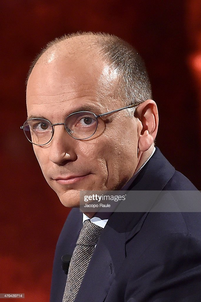 Enrico Letta attends 'Che Tempo Che Fa' TV Show - April 19th, 2015 on April 19, 2015 in Milan, Italy.